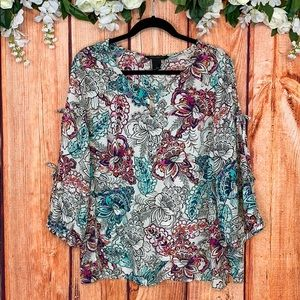 Investments Cold Shoulder Cutout Sleeve Floral Top